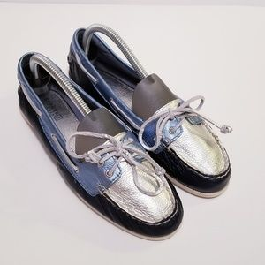 Sperry Topsider Women's 8.5 Blue/Silver Boat Shoes
